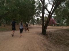 Walking, walking, walking. The dusty roads on campus.